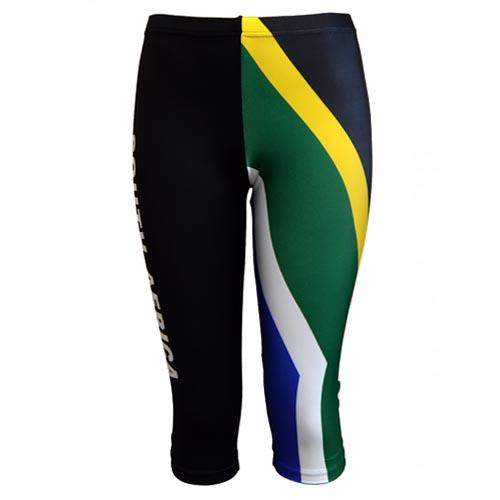 Fitness Leggings South Africa: Black / SA Flag Calf Tights