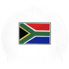 Swimming Cap-SA Flag-white
